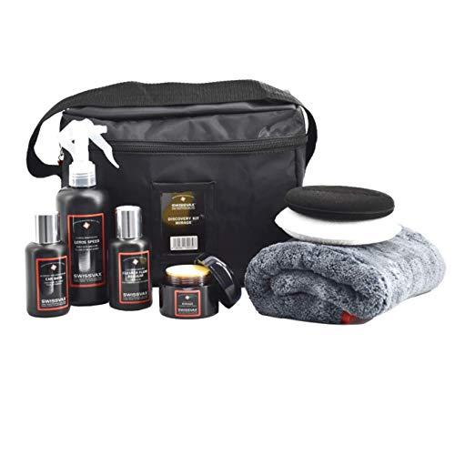 SWISSVAX Discovery Kit mit Mirage Wachs - Pflegeset mit Premium Wachs, Politur, Sprühversiegelung, Autoshampoo, Poliertuch und Pads