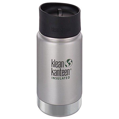 Klean Kanteen Edelstahlflasche mit Cafe Verschluss 355 ml Vakuum Insulated Wide 355ml, Brushed Stainless