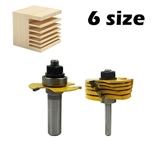 LoveDeal 1/2 Inch Shank Slot Cutter Router Bit Set, 3 Teeth T Shape Molding Wood Milling Cutter, Adjustable 3 Wings Carbide Woodworking Tool - with 6 Pcs Slotting Cutter Blades, for Cabinet(6 Sizes)