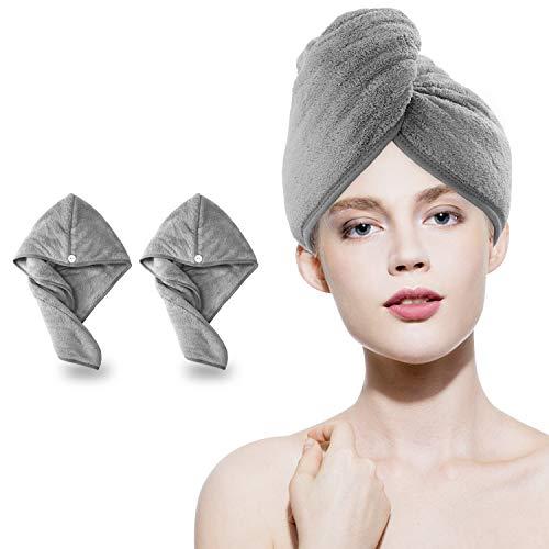 Amazon Brand - Eono Haarturban, Turban Handtuch mit Knopf, Mikrofaser Handtuch für die Haare Schnelltrocknend, Haar Trocknendes Tuch für Lange Haare und Alle Haartypen(Grau, 2)