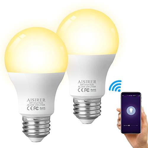Alexa Glühbirnen AISIRER Smart Lampe E27, 10W 1000LM WLAN LED Warmweiße Licht Wifi Birne, Kompatibel mit Amazon Alexa Echo und Google Assistant, Dimmbares Smart B, Kein Hub Benötigt (2 Stück)