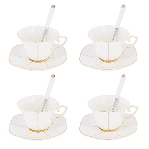 Artvigor 4 Juegos de Tazas de Café de Porcelana, 200ml, Juegos de Café de Cerámica Vajillas de té para Hogar, Oficina, Cafetería, Restaurante, Regalo para Cumpleaños, Festival - Arruga Dorada