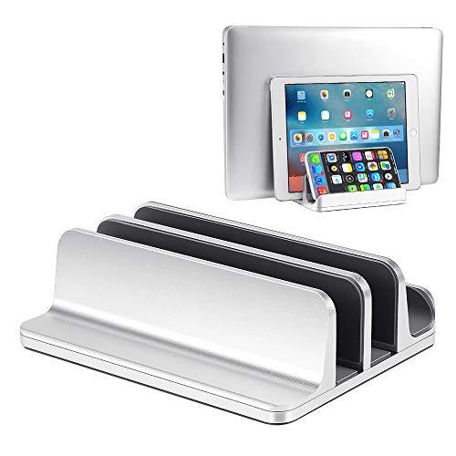 ShangSky Tablet-Computer-Ständer mit 3D-gebogener Oberfläche, 2 Steckplätze, halb-Laptop-Laptops, Aluminiumlegierung, vertikal, verstellbar, rutschfest, kratzfest, Silikon-Schutz, silberfarben