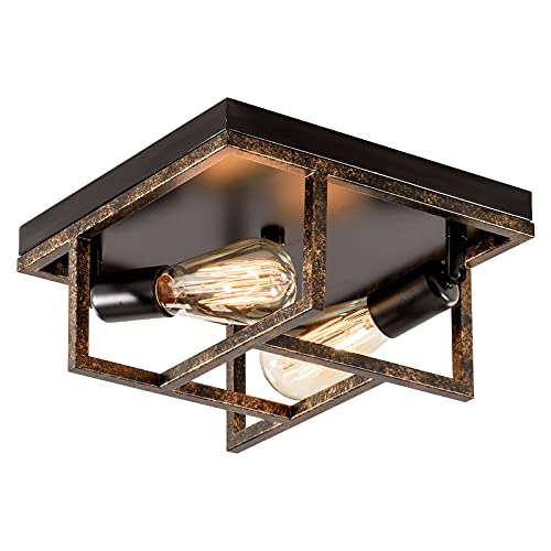PLFANN Metal Frame Industrial Ceiling 2 Lights, Bronzo, 28CM regolabile E27 Base rustica Flush Mount soffitto luce per corridoio, ingresso, soggiorno, camera da letto (senza lampadina)