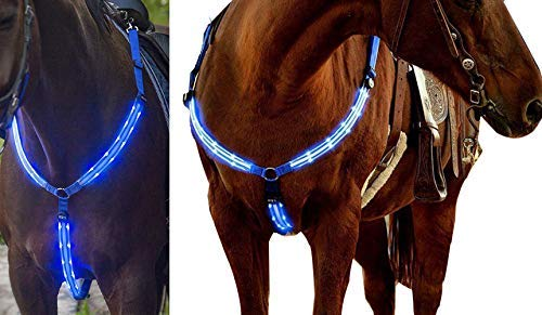 NEFTF LED Horse Breastplate Collar Bridle Halter High Visibility Tack for Night Horse Riding (Blue)