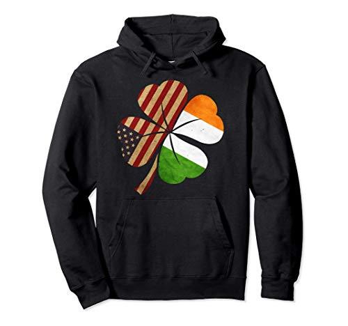 Shamrock Irish American Flag Four Leaf Green Clover Gift Pullover Hoodie
