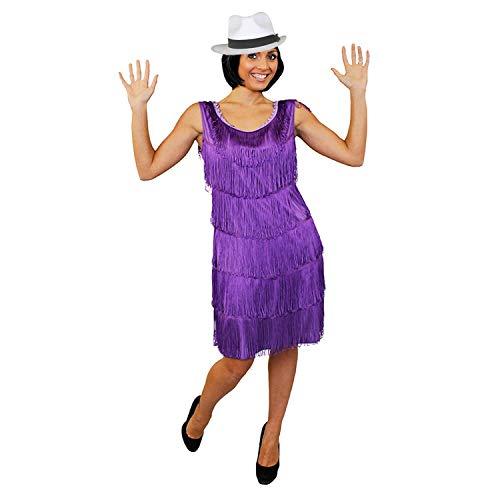 I LOVE FANCY DRESS LTD Disfraz DE Mujer DE LOS AÑOS 20 Vestido Flapper Purpura con Sombrero DE Ganster Blanco con Lazo Negro (60CM) Vestido Estilo AÑOS 20 Y Sombrero DE MAFIOSA Fiestas TEMATICAS (XL)