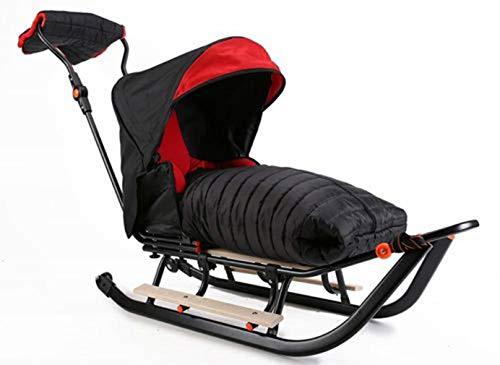 Premium LINE Plus Kinderschlitten Babyschlitten, Fußsack - 3-in-1- Kinderschlitten mit Rädern und Muff - Verschiedene Modelle (Modell: PLP328801526)