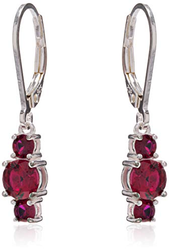 Sterling Silver Created Ruby 5mm and 3mm Three Stone July Birthstone Leverback Dangle Earrings