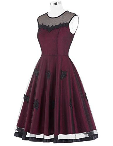50s Knielang Rundausschnitt Sommerkleid petticoat Kleid Ohne Arm - 4