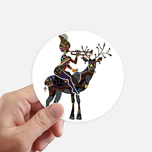 DIYthinker Afrikaanse Aboriginal Zwarte Vrouwen Herten Trompet Ronde Stickers 10 Cm Wandkoffer Laptop Motobike Decal 8 Stks