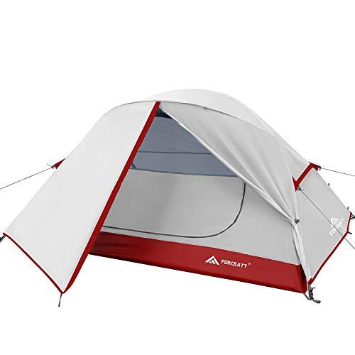 Forceatt Tente 2 Personnes en 4 Saisons | Idéal pour Le Camping, La Randonnée | Portes Doubles,Imperméable, Coupe-Vent, Facile à Installer et à Transporter | 4 Couleurs et 2 Tailles.