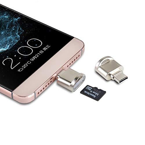 UKCOCO Adaptador OTG USB 3.1 para Lector de Tarjetas de Memoria Micro SD TF Tipo Mini portátil para Samsung Nexus MacBook ChromeBook Pixel (Negro)