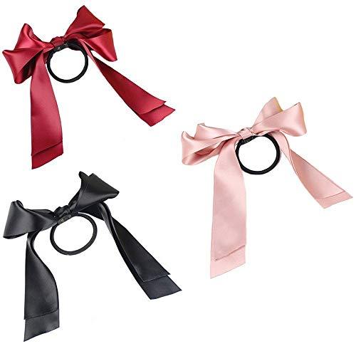 3pcs(pink+black+red) Satin Ribbon Bow Hair Rope Head Wrap Headbands Elastics Hair Tie Ponytail Holders Hair Accessories Headdress Best for Women Girls