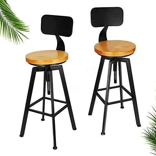 2 sgabelli da bar in stile retrò, altezza 64-84 cm, regolabili, in legno, con poggiapiedi e schienale per bar, caffetteria e cucina