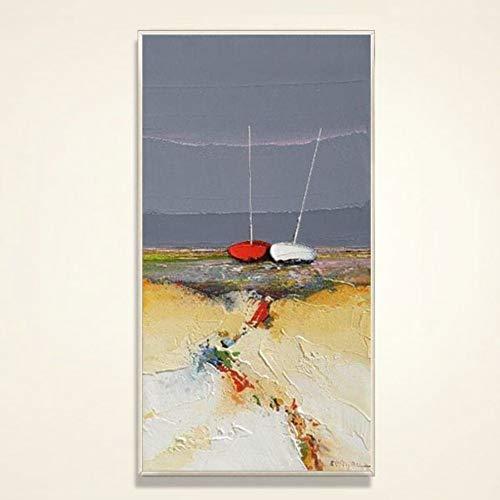 Olieverfschilderij op canvas handgeschilderd, abstract landschap schilderij paraplu's op het hoofd, moderne creatieve wand hangende decoratieve grote kunst voor ingang woonkamer slaapkamer volwassenen cadeau 40 x 80 cm