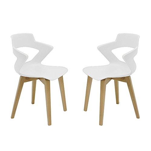 Set 2 sillas de Madera Estilo nórdico Zenith escandinava Italiana con Carcasa Polipropileno (Pack 2 Unidades) (Elige tu Color) (Blanco)