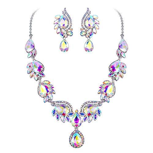 EVER FAITH Damen Schmuckset Kristall Hochzeit Blumen Blatt Träne Halskette Ohrringe Set Irisierender-Klar AB Gold-Ton