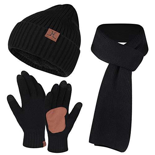 Bequemer Laden Männer Winter Warme Strickmütze Hut + Schal & Touchscreen Handschuhe Set für Herren