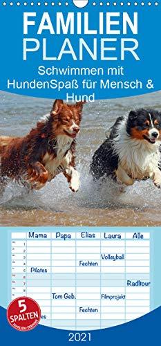 Schwimmen mit Hunden - Spaß für Mensch und Hund - Familienplaner hoch (Wandkalender 2021 , 21 cm x 45 cm, hoch): Hunde beim Tollen im Wasser - es ... (Monatskalender, 14 Seiten ) (CALVENDO Tiere)