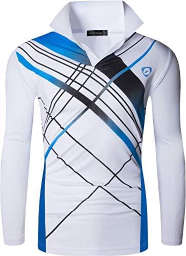 Jeansian メンズ スポーツ 長袖 ポロ Tシャツ ゴルフ テニス ボウリング バドミントン LA305 White XL