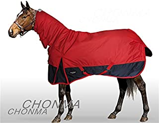 CHONMA Horseware 600D 250G Fill Winter Waterproof Heavyweight Fixed Neck Combo Red Turnout Horse Rug