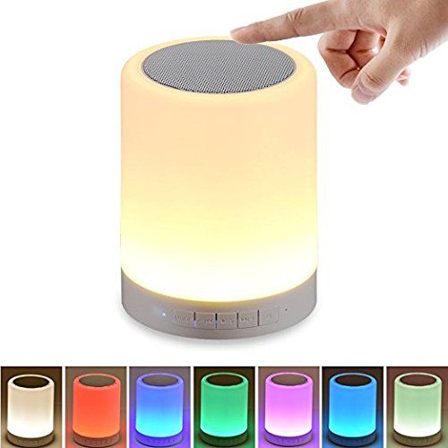 HF morning Lámpara LED de Mesa lamparas mesilla con altavoz Bluetooth Inalámbrico luz nocturna niños de color regulable Luz de Noche con control táctil Llamada de Manos Libres Bluetooth