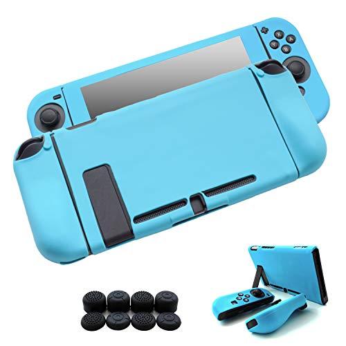 Hikfly Gel de Silicona Agarre Antideslizante Kits de Protección Carcasas Cubrir Piel para Nintendo Switch Consolas y Joy-Con Controlador Con 8pcs Gel de Silicona Empuñaduras Gorras (Azul)