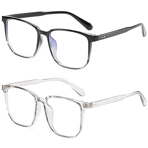 Bias&Belief Pack de 2 Gafas con Bloqueo de luz Azul Gafas para Juegos de computadora TR Montura Cuadrada Montura de anteojos Gafas para Juegos Anti-Fatiga Ocular para Mujeres y Hombres,B