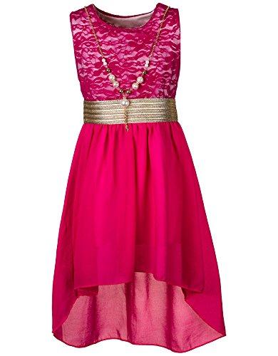 Unbekannt Kinder Sommer Fest Kleid für Mädchen Sommerkleid Festkleid mit Kette in vielen Farben M288pi Pink Gr. 14/152 / 158