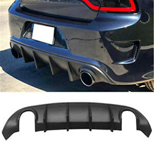 munirater Rear Bumper Lower Guard Diffuser Replacement for 2015 2016 2017 2018 2019 2020 Dodge Charger Scat Pack, SRT, Daytona Factory Style Rear Bumper Lower Dual Exhaust Diffuser