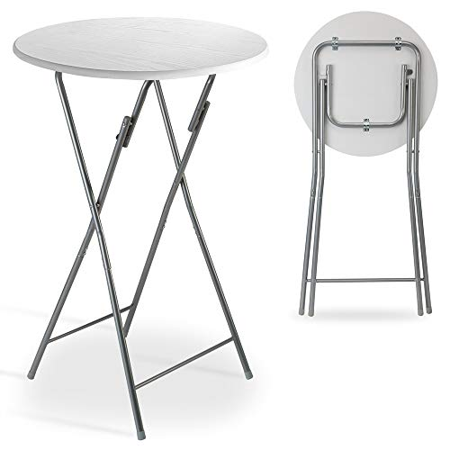 Casaria Stehtisch Klappbar 60 x 110 cm Klapptisch Gartentisch Partytisch Bistrotisch Tisch Metall MDF Weiß Holz Optik