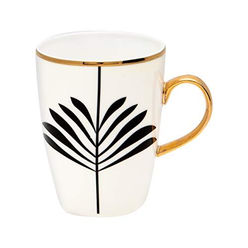 GreenGate Espresso Tasse Gate Noir Maxime Schwarz Weiß Porzellan mit Goldrand Henkel Gold