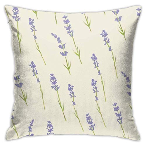 Lucky girlfriend Lavender Flowers Pillowcase Square Soft Plush Home Sofa Bed Car Decoration Pillowcase Cushion Cover -Include Insert 18'X 18' Inches