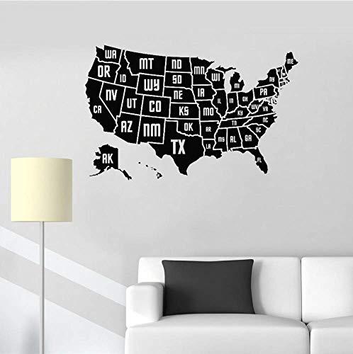 Muursticker Sticker Vinyl Home Office Wall Decor Muurschildering Moderne Kunst Kaart Van Amerika Behang Verwisselbare 88X56Cm