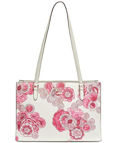 DKNY Women's Whitney Floral Center Zip Tote Handbag White