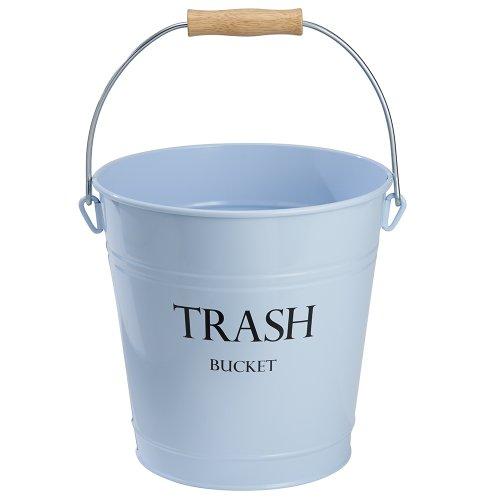 iDesign Pail Metal Round Wastebasket, Garbage Trash Can for Bathroom, Bedroom, Home Office, Kitchen, Patio, Dorm, College, Set of 1, Light Blue