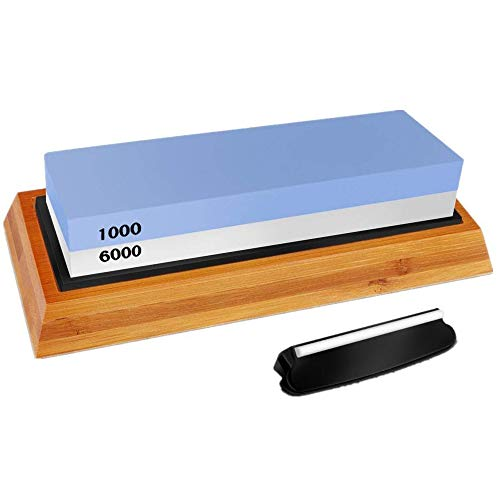 Whetstone Knife Sharpening Stone Set, 1000/6000 Knife Sharpener Stone Knife Sharpening Kit Waterstone Grit 2-in-1 Double-Sided with Non-Slip Bamboo Base and Angle Guide
