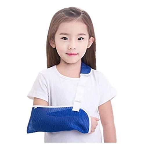 RICHAIR 子供用 腕つり用サポーター アームホルダー アームスリング サイズ調整可 通気良好 メッシュ ギブス カバー しっかり固定 ブルー (S)