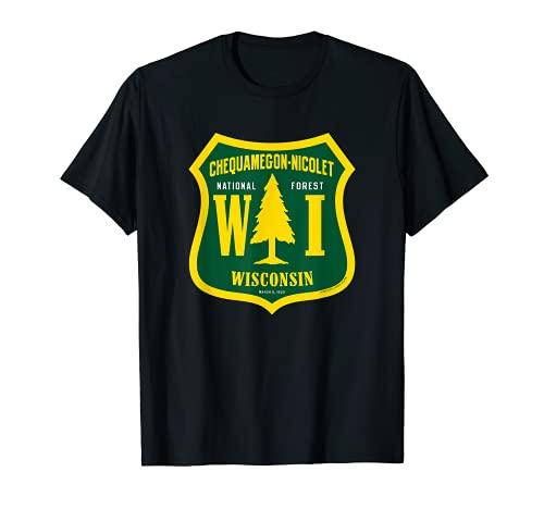 Wisconsin WI Chequamegon Nicolet Escudo del bosque nacional Camiseta