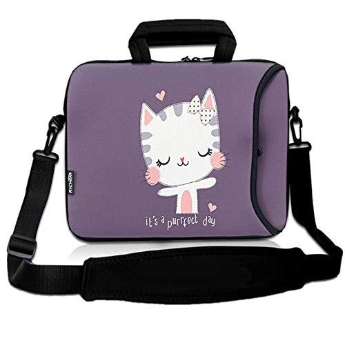 RICHEN 14 15 15.4 15.6 inch Laptop Shoulder Bag Messenger Bag Case Notebook Handle Sleeve Neoprene Soft Carring Tablet Travel Case with Accessories Pocket (14-15.6 inch, Cute Cat)