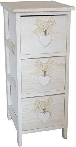 King Home C656118 Kommode mit 3 Schubladen mit Herz aus Paulownia-Holz, Weiß, 26 x 32 x 63 cm