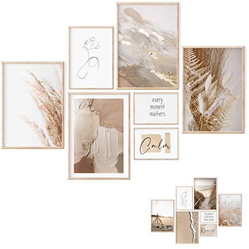 Premium Poster Set - 7 Beidseitige Bilder - Stilvolle Home Deko für Schlafzimmer und Wohnzimmer | Poster Vintage | Bilder Beige – ohne Bilderrahmen (Beige, M | 4xA4, 1xA5, 2xA6 - Ohne Rahmen)