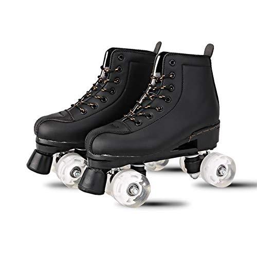 Rong-- Rollschuhe Mit Leuchtenden PU-Rädern Retro Mit Leder Für Outdoor Und Indoor Best Sporting Für Kinder/Jungen/Mädchen,Schwarz,43