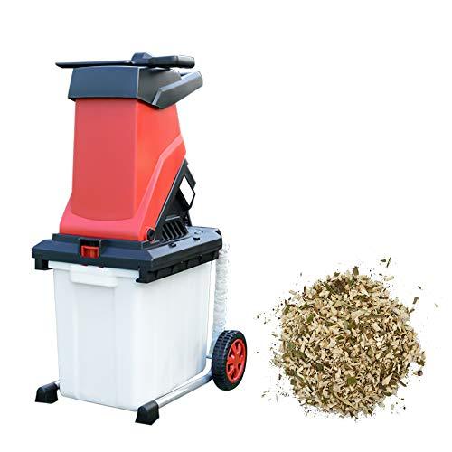Biotrituratore Elettrico, frantoio per rami da giardino da 2500 W Trituratore elettrico Cippatrice con sacco di raccolta di grande capacità da 50 litri, Biotrituratore per legno silenziosa
