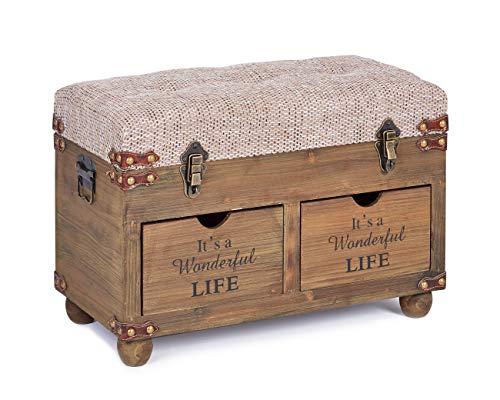 ts-ideen Vintage Sitzbank Sitztruhe Gepolstert mit 2 Schubladen und Stauraum für Flur Diele Wohnzimmer Braun