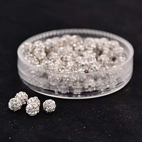 Cheriswelry 100pcs 4mm White Pave Disco Ball Beads Crystal Clay Rhinestone Round Shamballa Charms Loose Spacer Beads for Jewelry Making European Style Bracelets Hole: 1mm