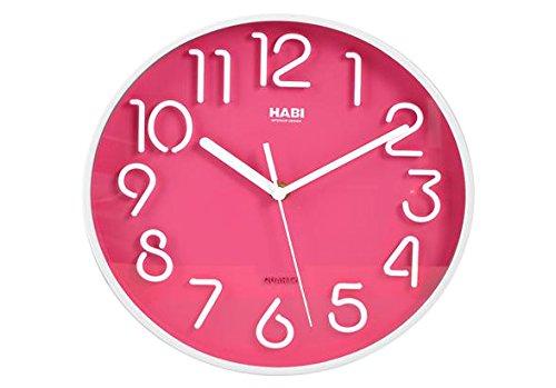 Habi Horloge Murale, Rond, 25 cm, Plastique, Fuchsia
