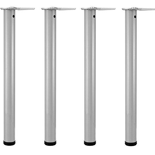 Gedotec Möbelfüße silber RAL 9006 Tischbeine höhen-verstellbar Tischfüße Metall - Modell H1712 | Höhe 710 mm | Ø 60 mm | Verstellfüße inkl. Befestigungsmaterial | 4er Set inkl. Schrauben