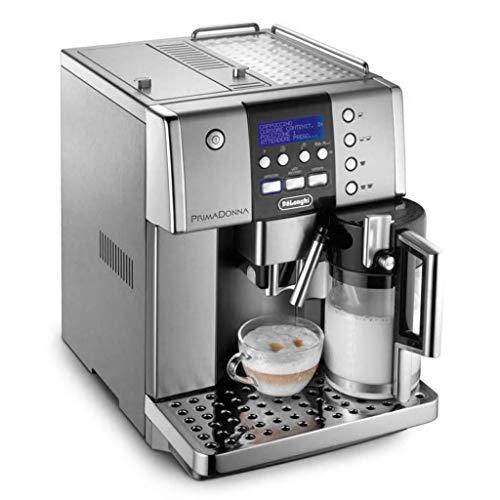 De\'Longhi PrimaDonna ESAM 6600 Kaffeevollautomat (Digitaldisplay, integriertes Milchsystem, Kegelmahlwerk 13 Stufen, Edelstahlgehäuse, 2-Tassen-Funktion) silber